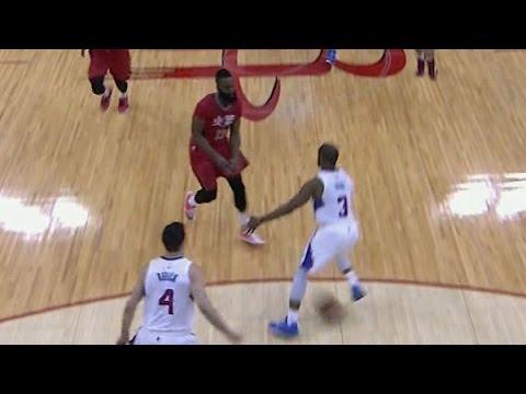 James Harden throws it between the legs of...