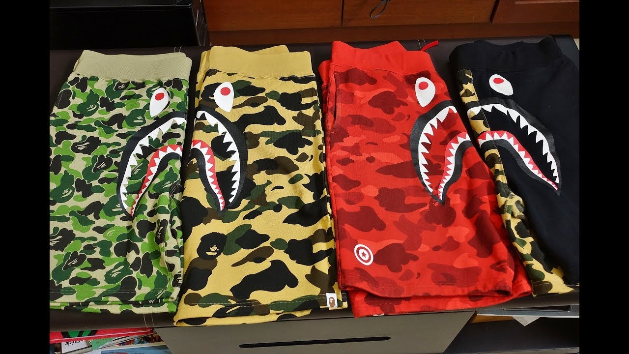 9b490819c021 Bathing Ape BAPE Collection Series  Biggest SHARK SWEAT SHORTS review on  Youtube! ! HYPEBEAST