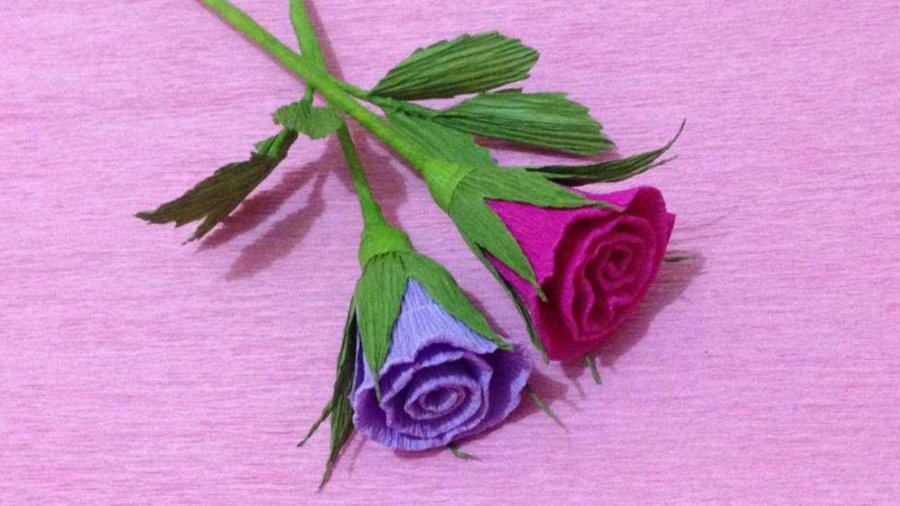 How To Make Small Rose Crepe Paper Flowers Flower Making Of Crepe