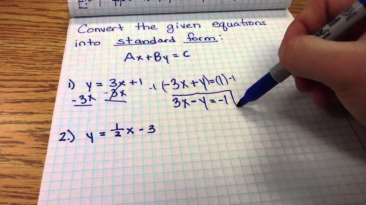 Converting Linear Equations To Standard Form