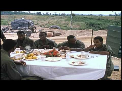 United States Army Soldiers eat Thanksgiving Dinner in Vietnam HD Stock Footage