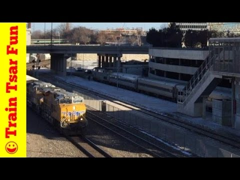 Amtrak Passenger Train and Freight Train at Union Station Kansas City 01/07/2015