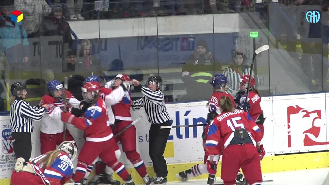 Hromadná rvačka ve čtvrtfinále MS žen do 18 let Česko - Rusko