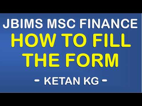 JBIMS MSC Finance - How to fill the form