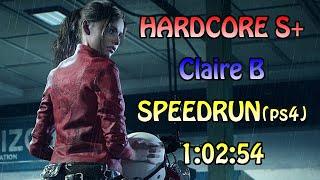 Resident Evil 2(2019) Claire B Hardcore(PS4) Speedrun 1:02:54