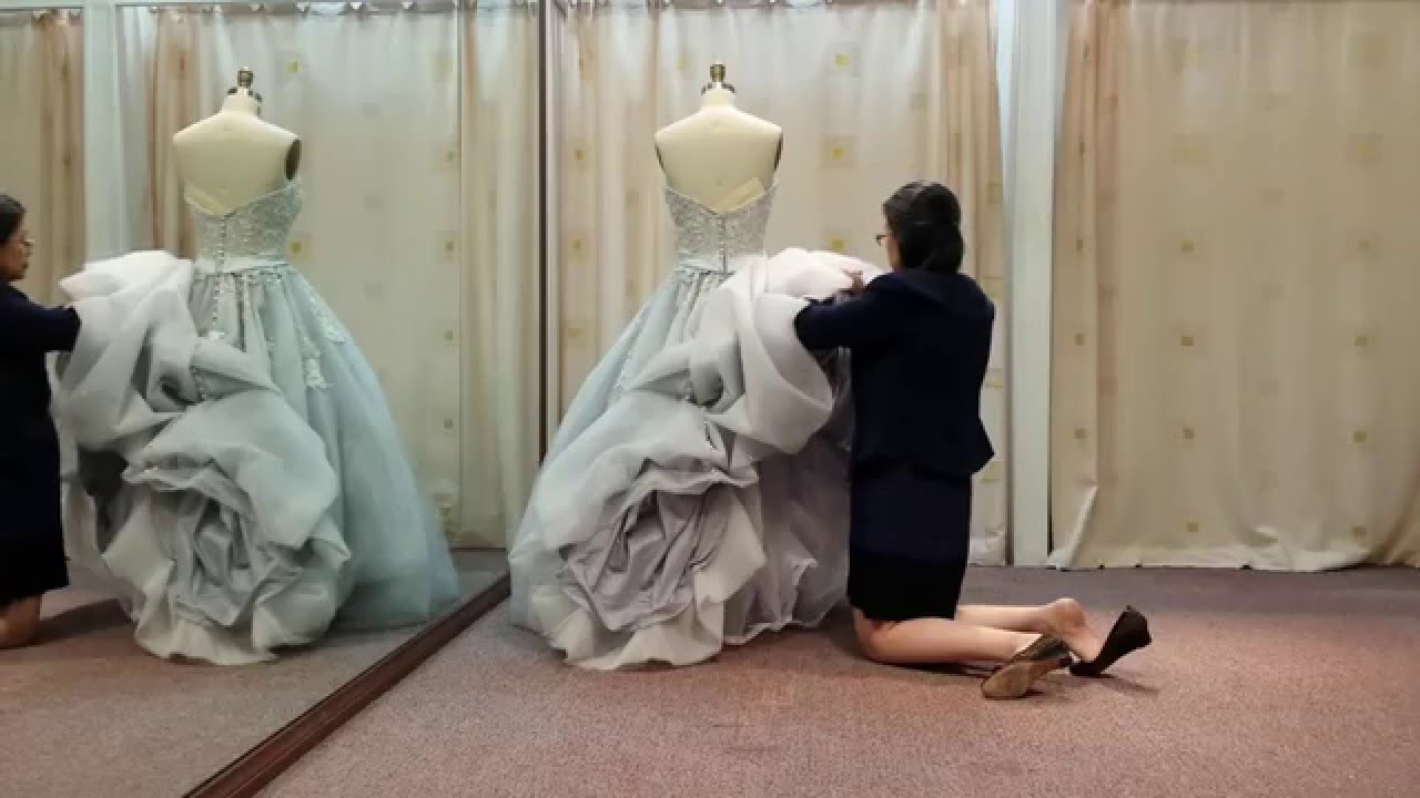 How to french bustle a wedding dress train tutorial