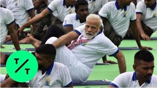 India PM Narendra Modi Practices Yoga on International Yoga Day