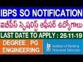 IBPS SO 2019-2020 | IBPS SO Recruitment Notification 2019 | Specialist Officer | Telugu Job Portal
