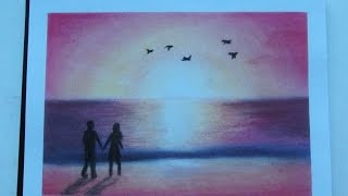 HOW TO DRAW a beach and a sunset// Romantic beach // Pastels
