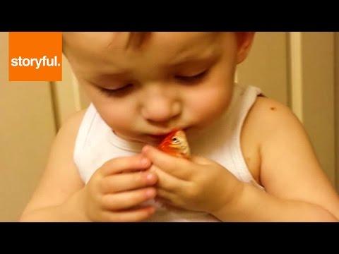 Child Says Sad Goodbye To Pet Goldfish (Storyful, Baby)