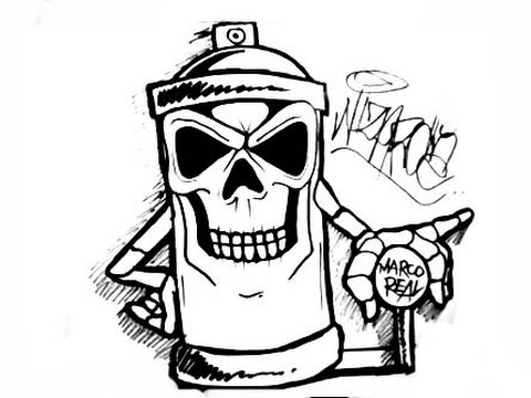 Drawing a skull spraycan characters by CHOLOWIZ - YouTube