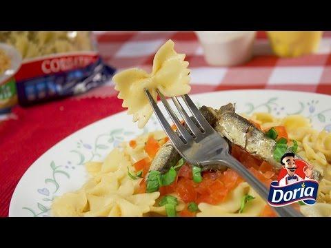 Corbatas Doria con tomate fresco y sardinas