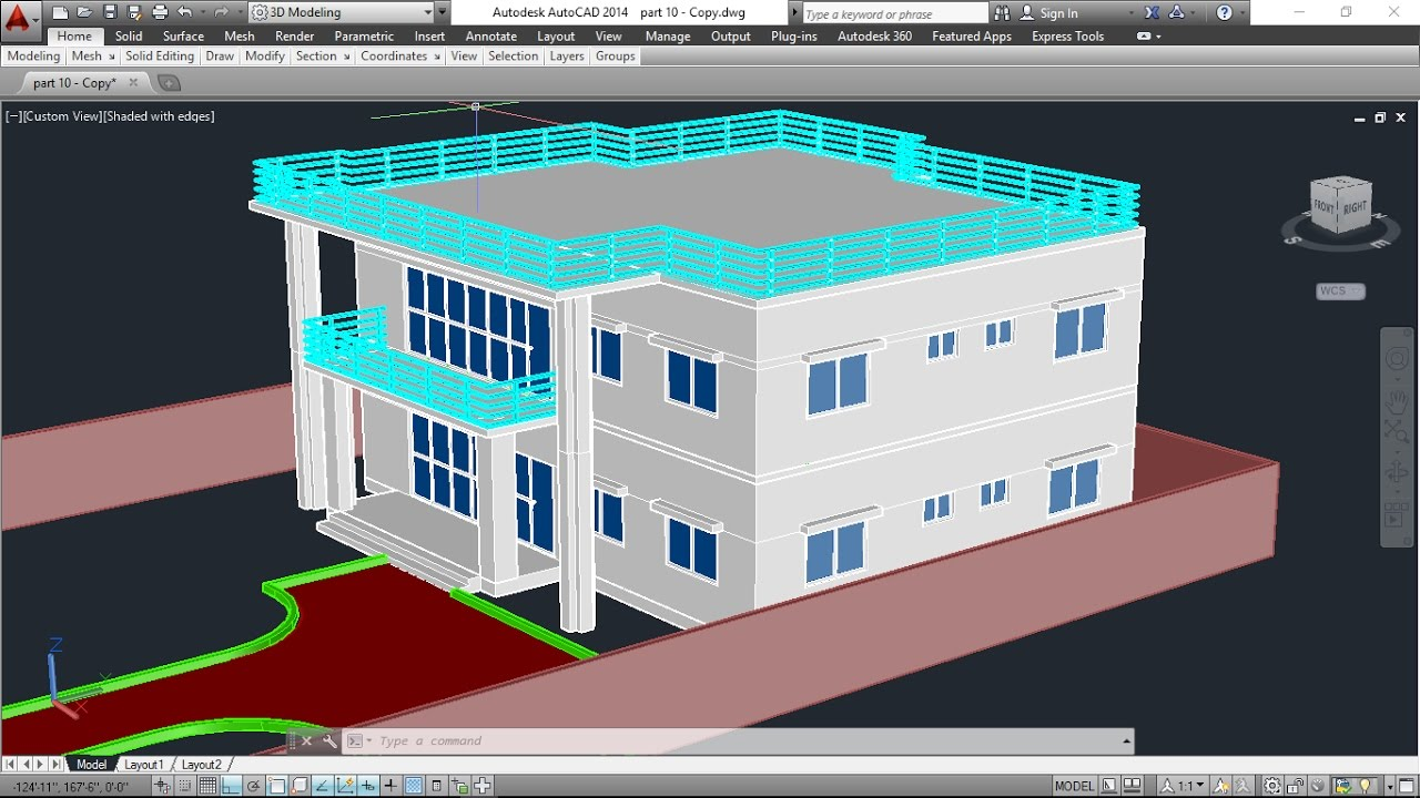 3D House Model Part-9 Autocad Basic 2D & 3D Bangla ...