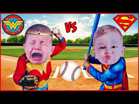 Superhero Babies BASEBALL Baby Superheroes Home Run Derby Superman and Wonder Woman