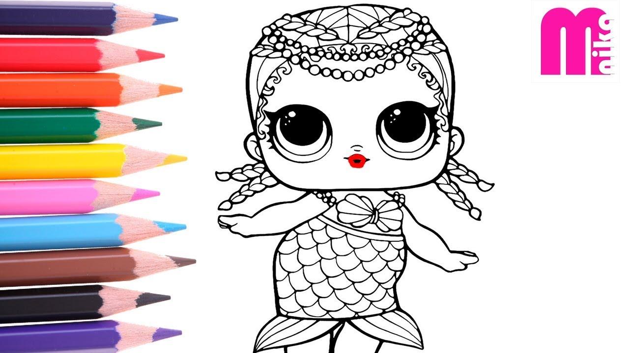 Раскраска ЛОЛ РУСАЛОЧКА для детей | LOL Surprise Coloring ...
