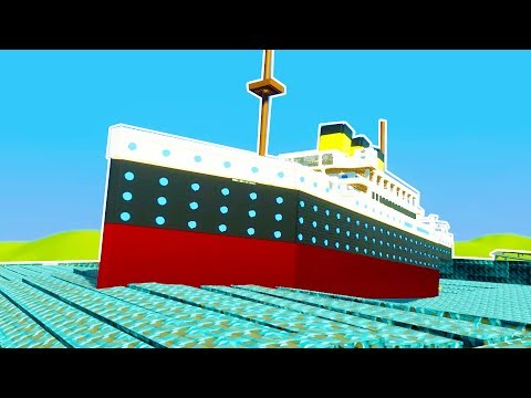 LIFE SIZED LEGO TITANIC ANNIHILATED BY GIANT WAVE POOL! - Brick Rigs Workshop Creations Gameplay