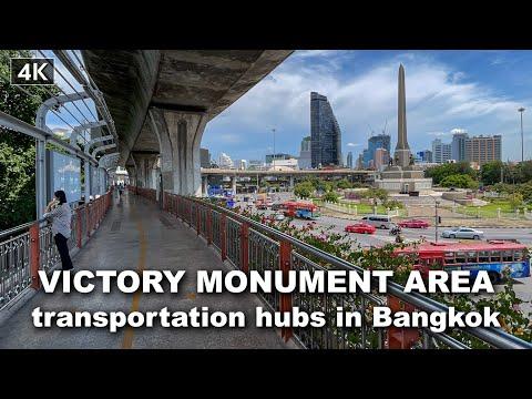 【4K】Walking Around Victory Monument transportation hubs in Bangkok May, 2021