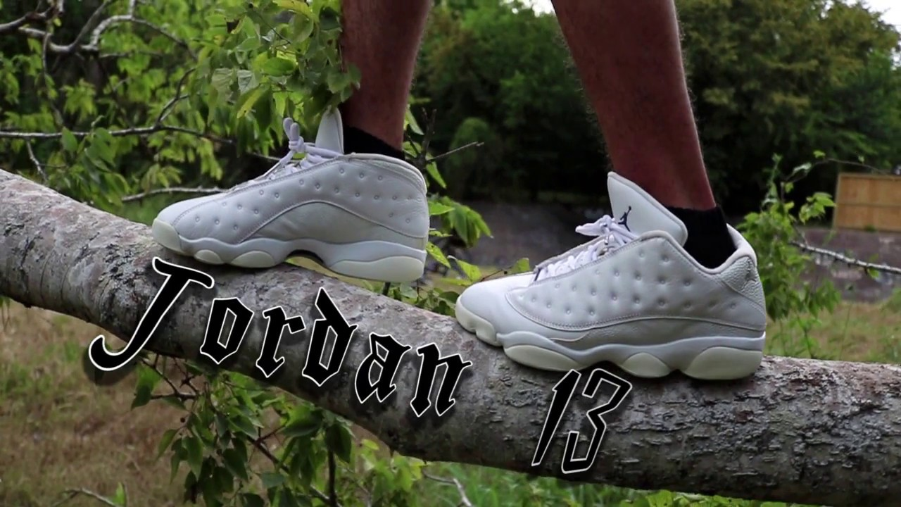 air jordan 13 low pure platinum on feet