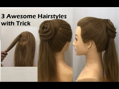 3-awesome-hairstyles-with-easy-trick-|-beautiful-hairstyles-for-college-|-ponytail-bun-hairstyle