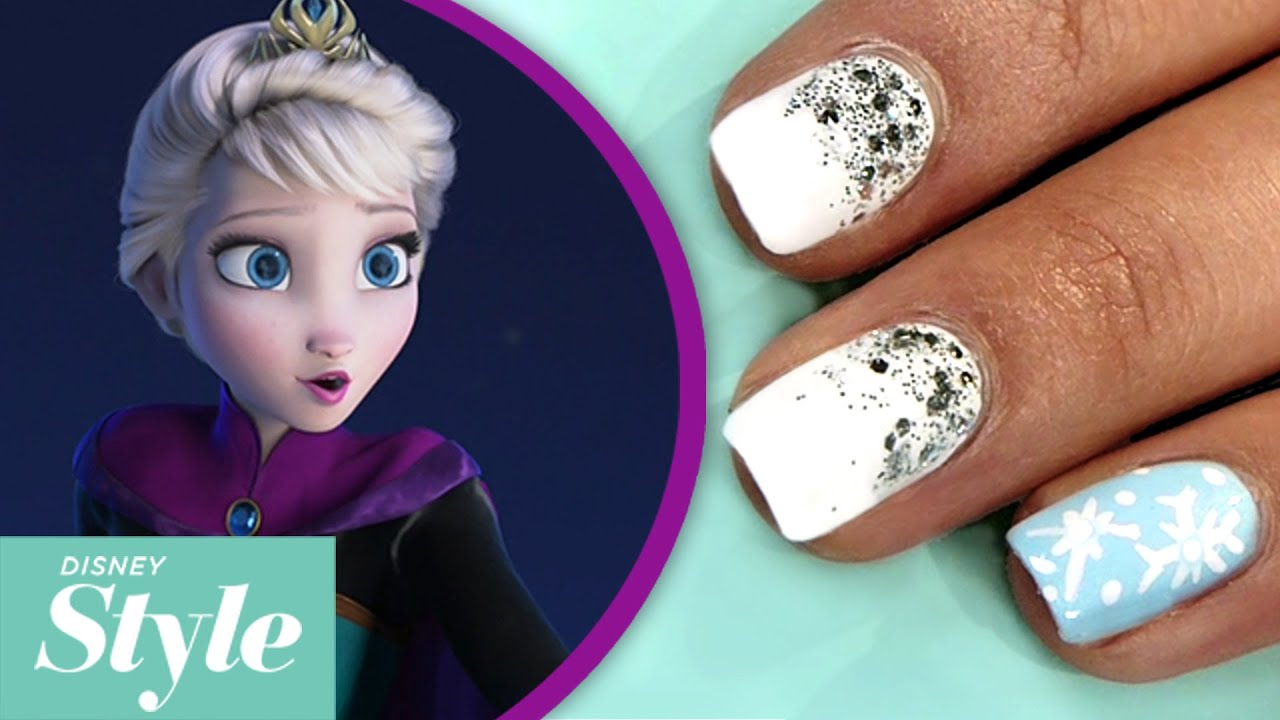 Frozen winter wonderland nail art tutorial disney style youtube prinsesfo Image collections