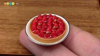 DIY Miniature Strawberry Tart (Fake food) ミニチュアストロベリータルト作り