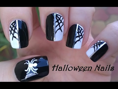 Black & White Halloween Spider & Spiderweb Nail Art - HALLOWEEN NAILS! Black & White Halloween Spider & Spiderweb Nail Art