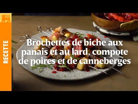 Brochettes de biche aux panais et au lard, compote de poires et de canneberges
