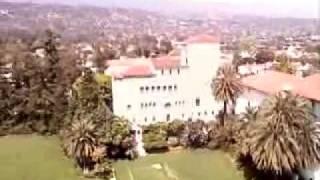 Santa Barbara Court house clock tower view.