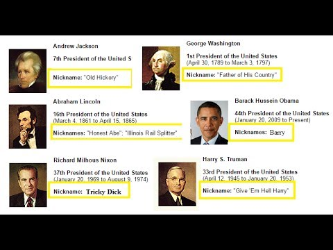 Nicknames of all US Presidents.. God Bless America! American History Education Videos