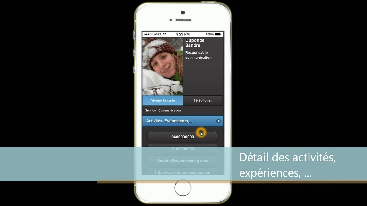 Dynamics TAG Utilisation De La Carte Visite Virtuelle Sur Un Iphone