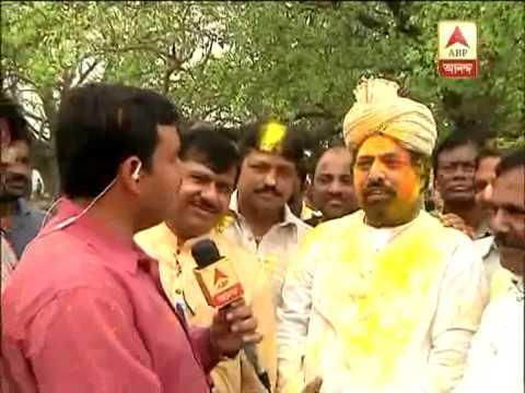 TMC candidate Sudip Bannerjee celebrates holi