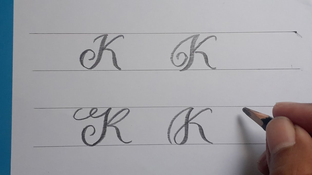 Calligraphy Handwriting Letter K In Cursive Design / How To Write Stylish  Alphabet For Beginners /