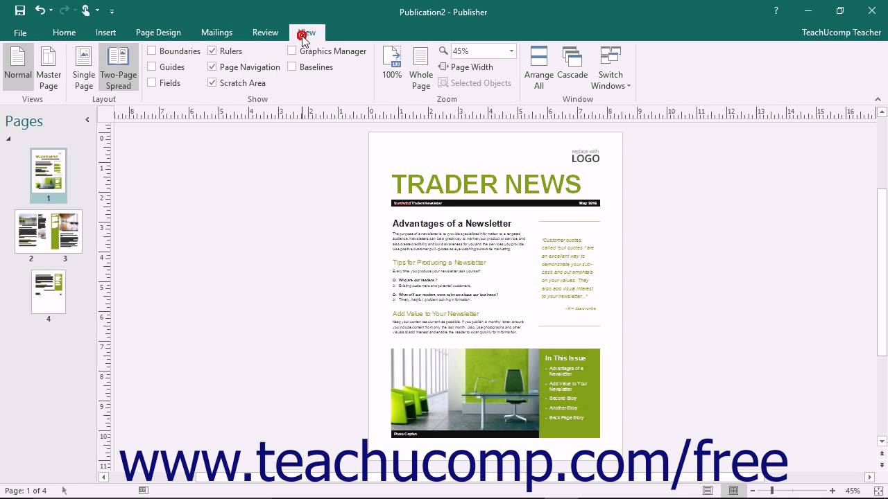 publisher 2016 tutorial the page layout view buttons microsoft