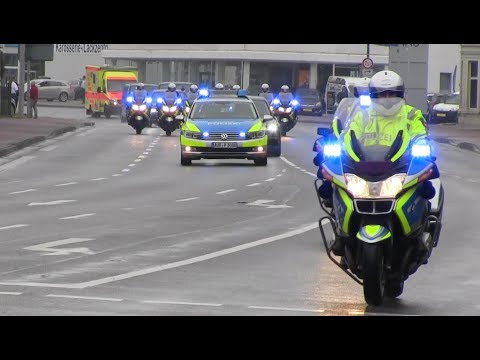 [Uncut] German presidential motorcade with Lower Saxony State Police and Ambulance