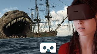 Sea Monsters VR Video: Scary Island Monster & Sea Dragon attack a Ship