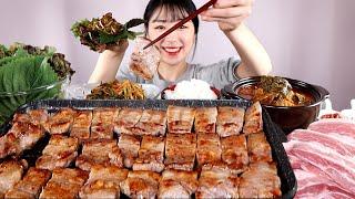 삼겹살2kg 참치김치찌개 밥 쌈 먹방:) Pork be…