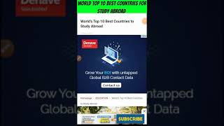 World Top 10 Best Countries for Abroad Study | #shorts