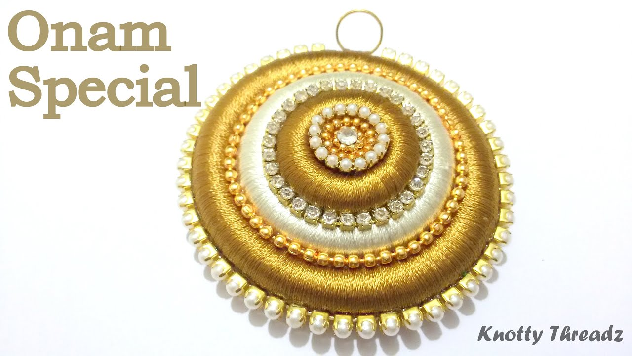 Onam special how to make a pendant using silk thread at home onam special how to make a pendant using silk thread at home tutorial youtube aloadofball Choice Image