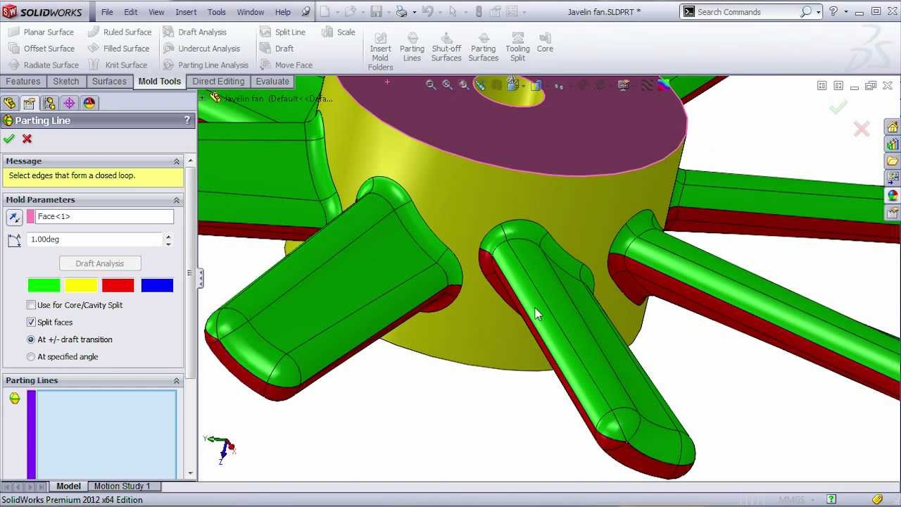 Complex Mold Split Using Solidworks Youtube