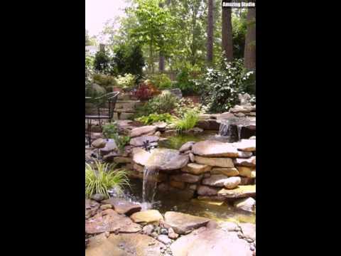 Wasserfall Garten Koi Teich