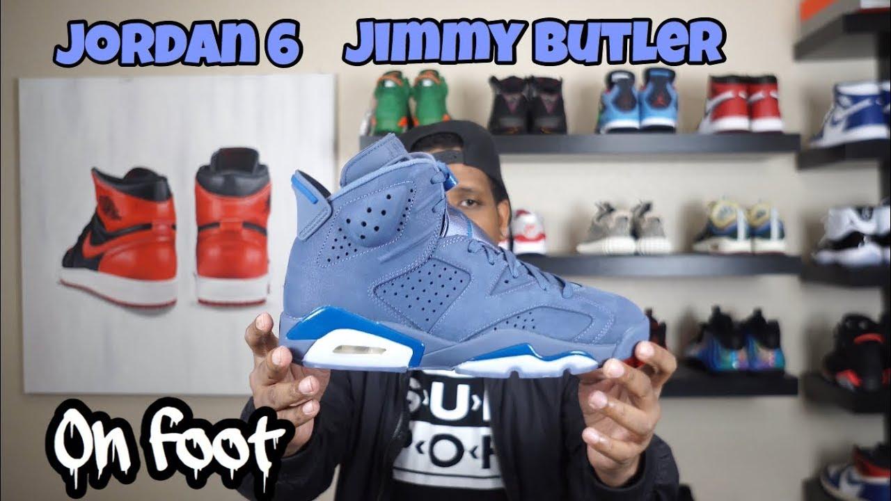 new products b4de1 cf42f Jordan 6 Jimmy Butler (Diffused Blue) On Feet - 4K