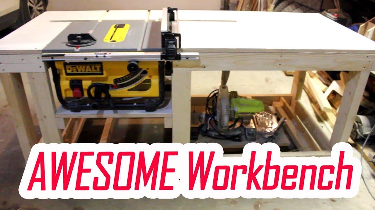 Easy Diy Workbench With Dewalt Table Saw Dwe7480 Insert Part 1 Juro Workshop Youtube