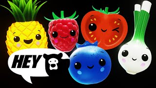 Hey Bear Sensory - Fruit Salad Dance Party - Counting 1 to 10 - Fun animation with music