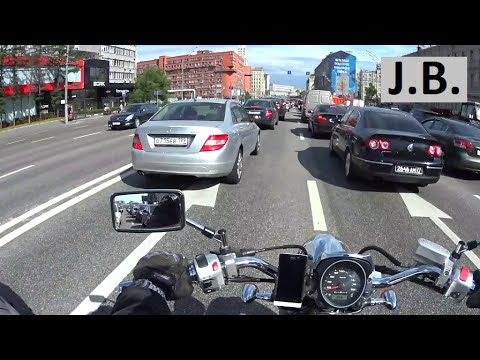 Motorcycle driving in Moscow Garden Ring