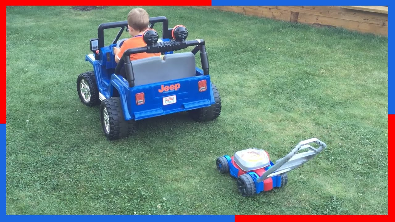 POWER WEELS Blue JEEP Wrangler BUBBLE Toy Lawn Mower