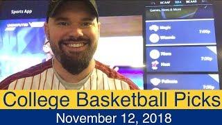 CBB Picks (11-12-18) | College Basketball NCAAB Expert Predictions | NCAAM | Men's NCAA