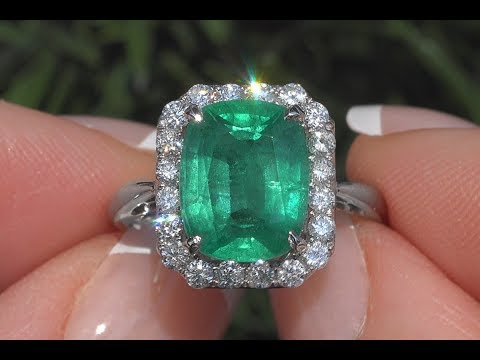 GIA Certified Green Emerald & Diamond Cocktail Engagement Ring 18k White Gold  4.59 TCW - C1061