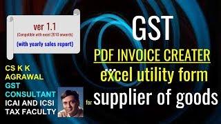 ضريبة GST الفاتورة PDF creater من خلال excel فائدة شكل المورد من السلع