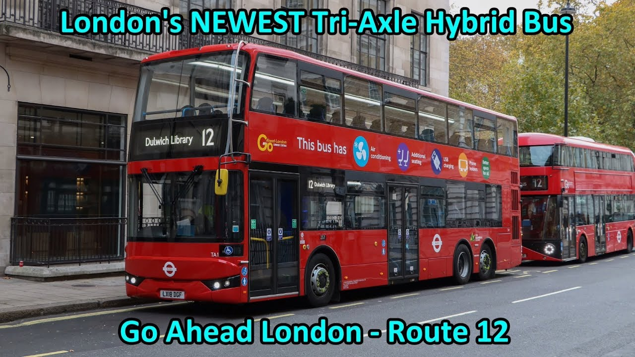 london's newest tri-axle hybrid double decker bus on route 12 +