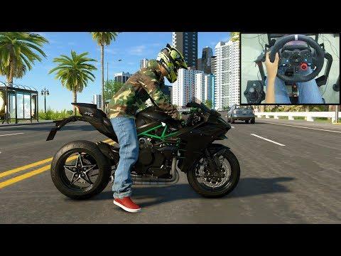 Kawasaki Ninja H2 - The Crew 2 | Logitech G29 Gameplay